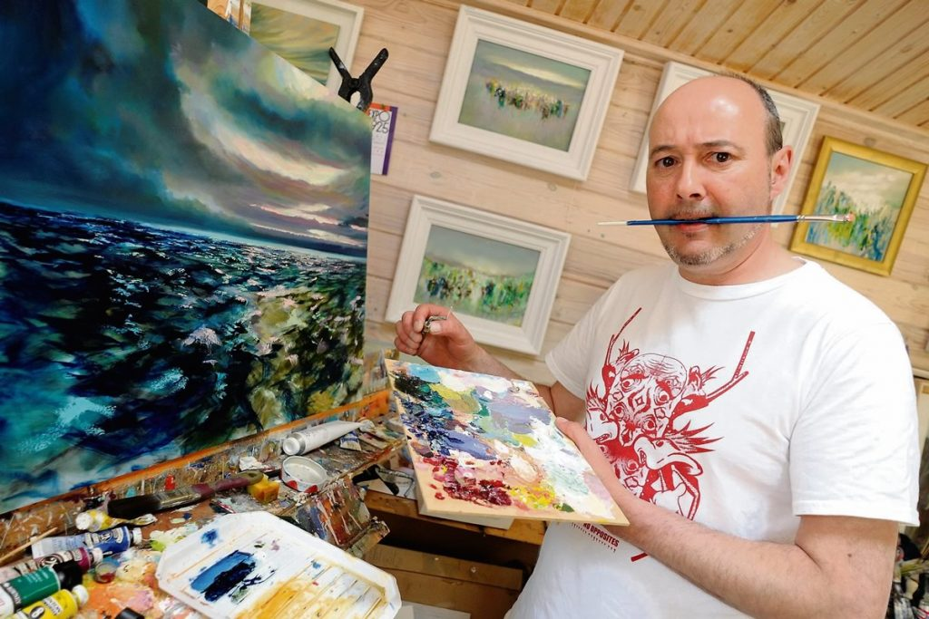 Painter Robert Shaw in his Donabate studio